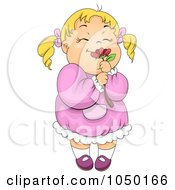 Royalty Free RF Clip Art Illustration Of A Girl Smelling A Red Flower by BNP Design Studio