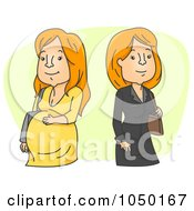 Royalty Free RF Clip Art Illustration Of A Pregnant Family Woman By A Career Woman