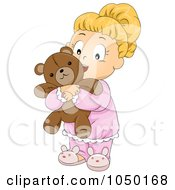 Royalty Free RF Clip Art Illustration Of A Girl Hugging Her Teddy Bear