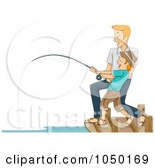 Royalty Free RF Clip Art Illustration Of A Father And Son Reeling In A Big Catch