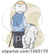 Royalty Free RF Clip Art Illustration Of A Senior Man Standing By His Dog