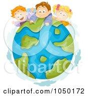 Royalty Free RF Clip Art Illustration Of Three Kids On Earth