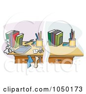 Royalty Free RF Clip Art Illustration Of A Split Scene Of A Clean And Messy Desk