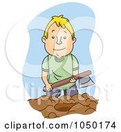 Royalty Free RF Clip Art Illustration Of A Man Burying The Hatchet