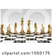 Royalty Free RF Clip Art Illustration Of 3d White Chess Pieces On A Board With A Very Shallow Depth Of Field