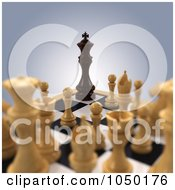 3d Black Chess King Corned By White Chess Pieces