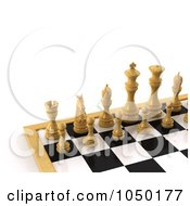 Royalty Free RF Clip Art Illustration Of 3d White Chess Pieces On A Board by stockillustrations