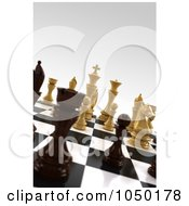 Royalty Free RF Clip Art Illustration Of 3d White And Black Chess Pieces On A Board With Very Shallow Depth Of Field
