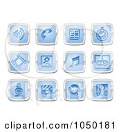 Royalty Free RF Clip Art Illustration Of A Digital Collage Of Blue And Silver Media Icons
