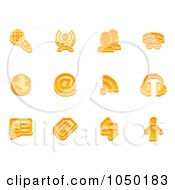 Royalty Free RF Clip Art Illustration Of A Digital Collage Of Orange Communication Icons