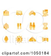 Royalty Free RF Clip Art Illustration Of A Digital Collage Of Orange Travel Icons