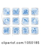 Royalty Free RF Clip Art Illustration Of A Digital Collage Of Blue And Silver Communication Icons