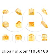 Royalty Free RF Clip Art Illustration Of A Digital Collage Of Orange Business Icons 2 by AtStockIllustration