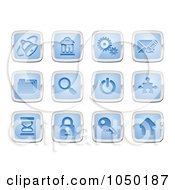 Royalty Free RF Clip Art Illustration Of A Digital Collage Of Blue And Silver Internet Icons