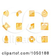 Royalty Free RF Clip Art Illustration Of A Digital Collage Of Orange Media Icons