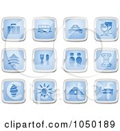 Royalty Free RF Clip Art Illustration Of A Digital Collage Of Blue And Silver Travel Icons by AtStockIllustration