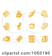 Royalty Free RF Clip Art Illustration Of A Digital Collage Of Orange Application Icons