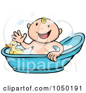 Royalty Free RF Clip Art Illustration Of A Happy Baby Taking A Bath