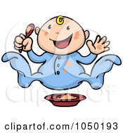 Royalty Free RF Clip Art Illustration Of A Happy Baby With Food