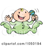 Royalty Free RF Clip Art Illustration Of A Happy Baby Playing With A Rattle