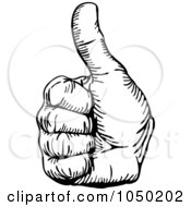 Royalty Free RF Clip Art Illustration Of A Black And White Hand With A Thumb Up