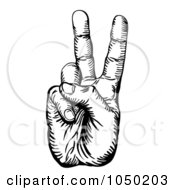 Royalty Free RF Clip Art Illustration Of A Black And White Peace Hand