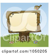 Royalty Free RF Clip Art Illustration Of A Bird Resting On A Sign Post With A Blank Sign