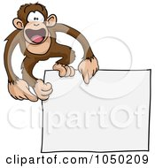 Royalty Free RF Clip Art Illustration Of A Happy Monkey On A Blank Sign