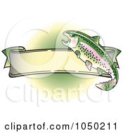 Royalty Free RF Clip Art Illustration Of A Blank Rainbow Trout Banner Over Green 3 by Andy Nortnik