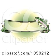 Royalty Free RF Clip Art Illustration Of A Blank Rainbow Trout Banner Over Green 4 by Andy Nortnik