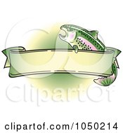 Royalty Free RF Clip Art Illustration Of A Blank Rainbow Trout Banner Over Green 2 by Andy Nortnik