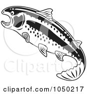 Royalty Free RF Clip Art Illustration Of A Black And White Rainbow Trout by Andy Nortnik