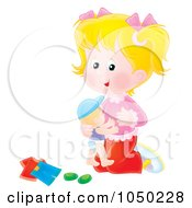 Royalty Free RF Clip Art Illustration Of A Girl Playing With A Doll