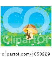 Royalty Free RF Clip Art Illustration Of An Ant Seeking Shelter From The Rain Under A Mushroom by Alex Bannykh