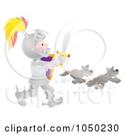 Royalty Free RF Clip Art Illustration Of A Boy Knight Chasing Away Wolves by Alex Bannykh