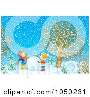 Royalty Free RF Clip Art Illustration Of Boys Working Together To Make A Snowman