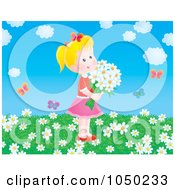 Royalty Free RF Clip Art Illustration Of A Girl Holding Flowers In A Spring Field by Alex Bannykh