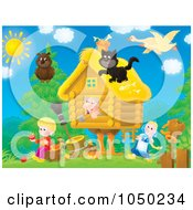 Royalty Free RF Clip Art Illustration Of Animals Surrounding A Cottage by Alex Bannykh