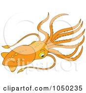 Royalty Free RF Clip Art Illustration Of An Orange Squid by Alex Bannykh