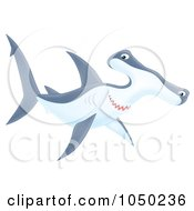 Royalty Free RF Clip Art Illustration Of A Swimming Hammerhead Shark