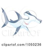 Royalty Free RF Clip Art Illustration Of A Swimming Hammerhead Shark by Alex Bannykh