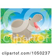 Royalty Free RF Clip Art Illustration Of A Hippo On A Tropical Beach by Alex Bannykh
