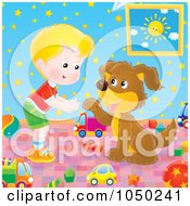 Royalty Free RF Clip Art Illustration Of A Boy Teaching His Dog How To Shake Paws