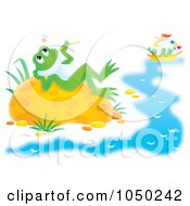 Royalty Free RF Clip Art Illustration Of A Reclined Frog Watching Bugs While Others Sail by Alex Bannykh