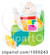 Royalty Free RF Clip Art Illustration Of A Senior Man Reading A Newspaper by Alex Bannykh
