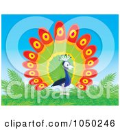 Royalty Free RF Clip Art Illustration Of A Peacock On A Hill by Alex Bannykh