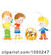 Royalty Free RF Clip Art Illustration Of Boys With A Basket Of Mushrooms