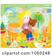 Royalty Free RF Clip Art Illustration Of A Girl Holding A Teddy Bear In A Play Room