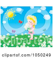 Royalty Free RF Clip Art Illustration Of A Girl Holding Flowers In A Summer Field by Alex Bannykh