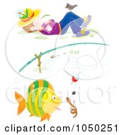 Royalty Free RF Clip Art Illustration Of A Worm And Fish Under A Fishing Pole And Napping Boy by Alex Bannykh